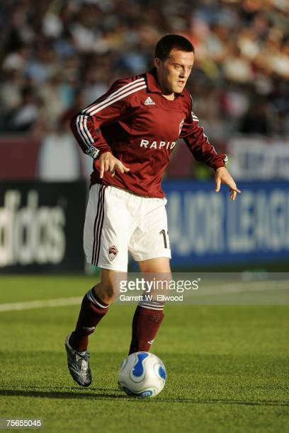 Midfielder Terry Cooke of the Colorado Rapids sets up to square the ball for a shot on goal against FC Dallas in the first half on June 23, 2007 at...