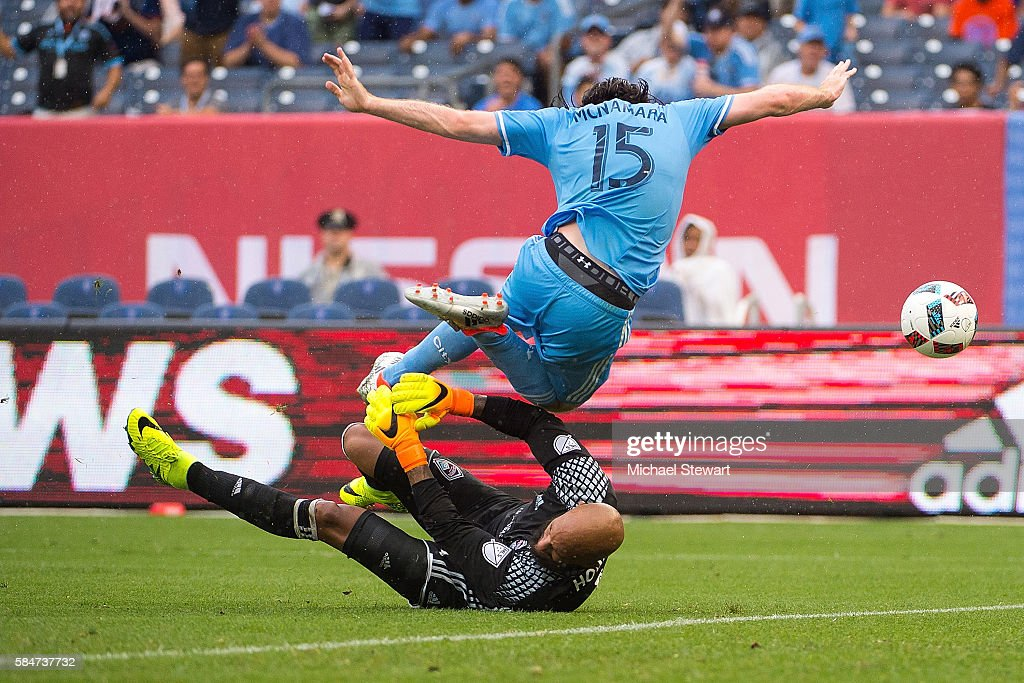 Midfielder Thomas McNamara #15 of New York City FC tries to score on goalkeeper Tim Howard #1 of Colorado Rapids during the match at Yankee Stadium on July 30, 2016 in New York City. New York City FC defeats Colorado Rapids 5-1.