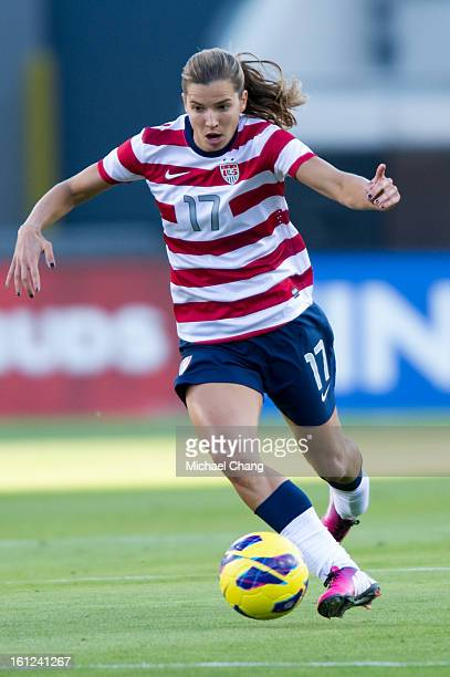 Midfielder Tobin Heath of the United States drives to the goal during the game against Scotland at EverBank Field on February 9 2013 in Jacksonville...