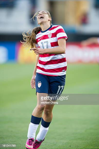 Midfielder Tobin Heath of the United States reacts after missing a goal during the game against Scotland at EverBank Field on February 9 2013 in...