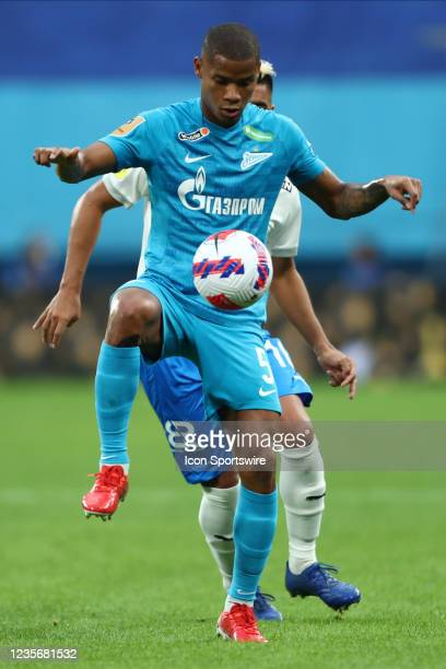 Midfielder Wilmar Barrios of FC Zenit and midfielder Christian Noboa of FC Sochi vie for the ball during Russian Premier League match FC Sochi v FC...