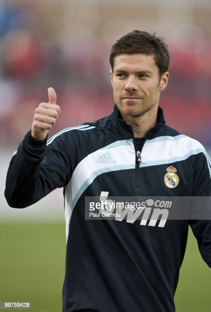 Midfielder Xabi Alonso of Real Madrid warms up on the pitch before the friendly match against the Toronto FC at BMO Field on August 7 2009 in Toronto...