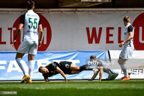 Midfielder Yehor Nazaryna of FC Zorya Luhansk trips on the pitch during the 2020/2021 Ukrainian Premier League Matchday 26 game against FC...