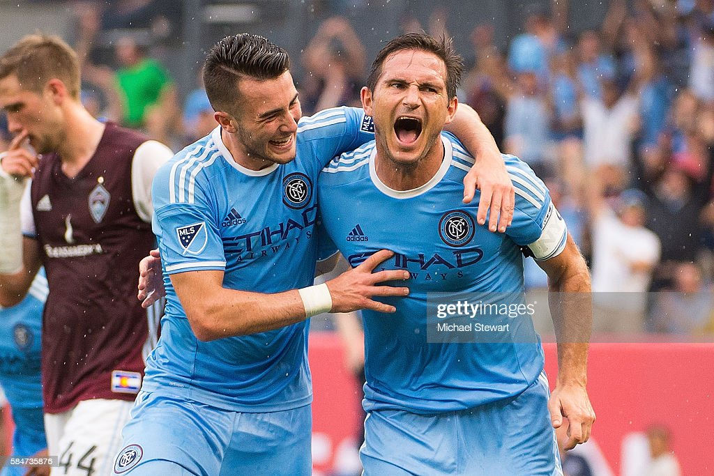 Midfielders Jack Harrison #11 (L) and Frank Lampard #8 of New York City FC celerate after scoring a goal during the match vs Colorado Rapids at Yankee Stadium on July 30, 2016 in New York City. New York City FC defeats Colorado Rapids 5-1.