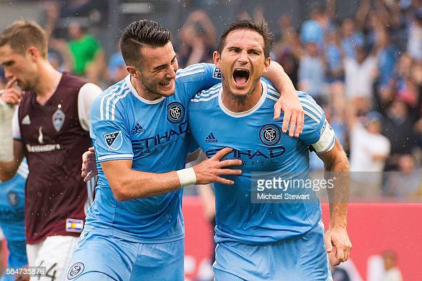 Midfielders Jack Harrison and Frank Lampard of New York City FC celerate after scoring a goal during the match vs Colorado Rapids at Yankee Stadium...