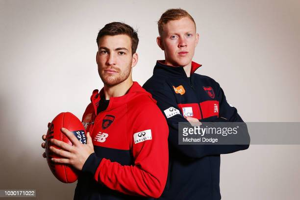 Midfielders Jack Viney and Clayton Oliver of the Demons pose during a Melbourne Demons AFL media opportunity at AAMI Park on September 10 2018 in...