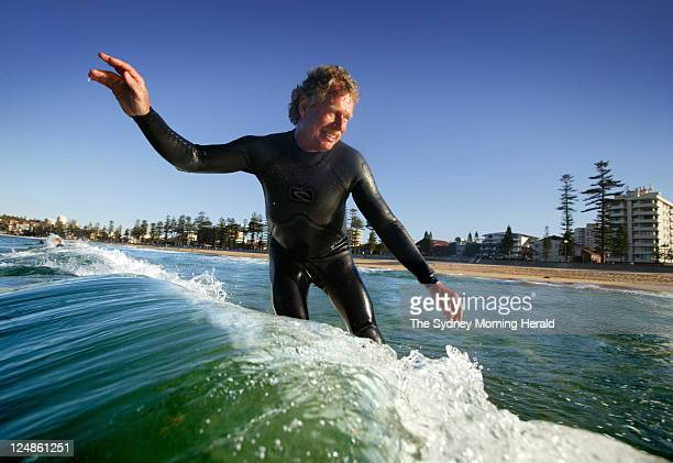 Midget Farrelly also known as Bernard Farrelly surfing at Manly Beach, 40 years after winning the First World Surfing Championships held at Manly...