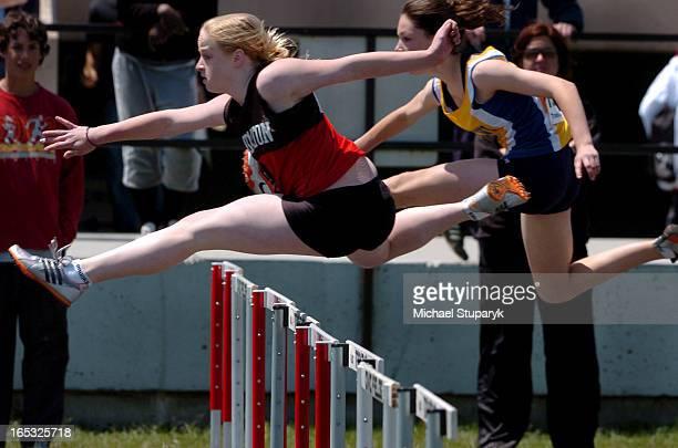 TORONTO ONT Midget final 80 m hurdles at LOSSA track and field in Oshawa Civic Fields Winner Stephanie brooks age l5 grade 9 from Dunbarton HS in...