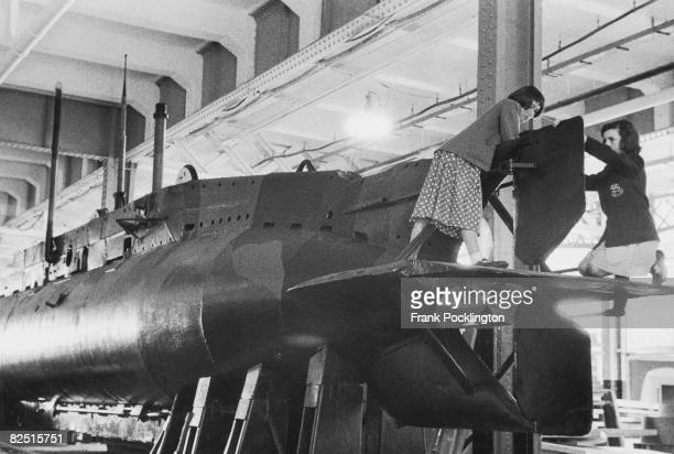 A midget submarine which has been transported from Gosport in Hampshire to London's Olympia for the Boys and Girls Exhibition August 1956 Original...