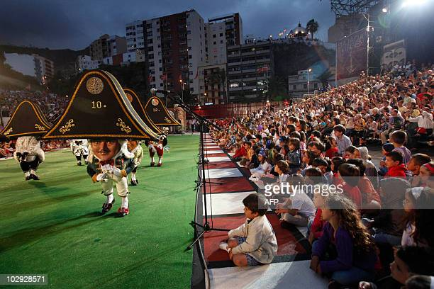 Midgets dance during the Dance of the Midgets of the 67th descent of the Virgin of the Snows in Santa Cruz de La Palma on the Spanish Canary Island...