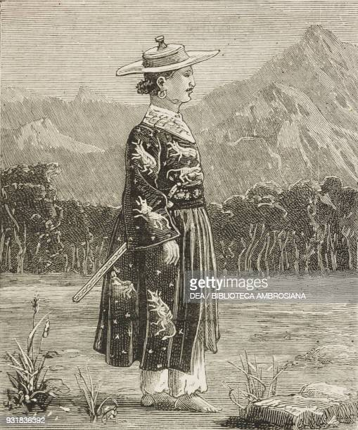 Midi chief of the Akha tribe Expedition against the Akha Marauders on the frontier of Assam illustration from the magazine The Graphic volume XXIX no...