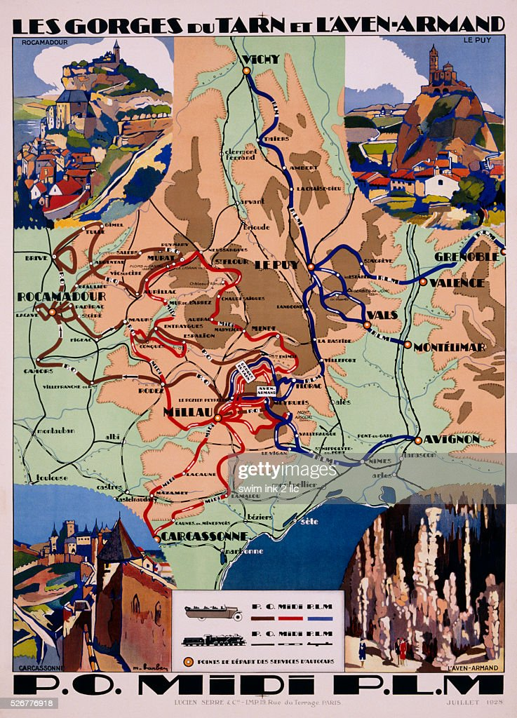 Map Of France Poster.P O Midi Plm Travel Map For The South Of France Poster By Maurice