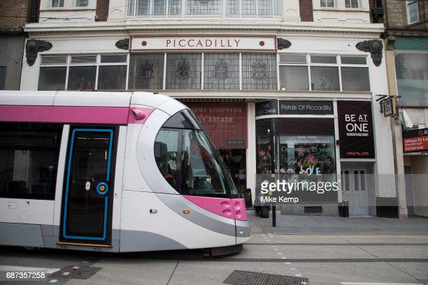 Midland Metro tram public transport system in central Birmingham, United Kingdom. The Midland Metro is a light-rail tram line in the county of West...