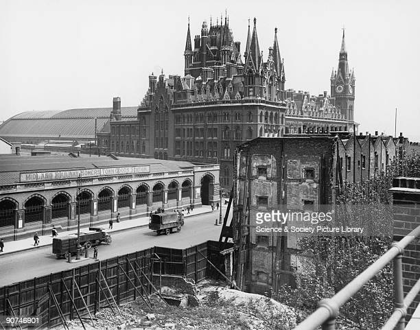Midland Railway Somers Town Goods Station 1922 Euston Road is in the foreground and St Pancras Station is in the background The site is now occupied...