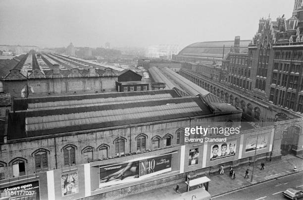 Midland Railway's Somers Town Goods depot next to St Pancras International Station London UK 5th August 1975
