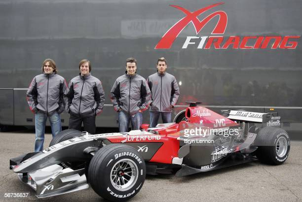 Midland test drivers Markus Winkelhock of Germany Giorgio Mondini of Switzerland Roman Rusinov of Russia and Adrian Sutil of Germany pose with the...