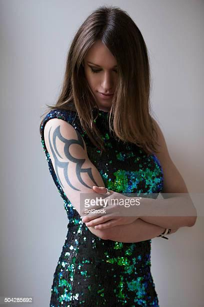 Longueur moyenne Portrait de femme de pré-Op transgenres