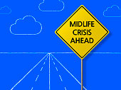 Midlife Crisis Ahead - Business Chalkboard Background