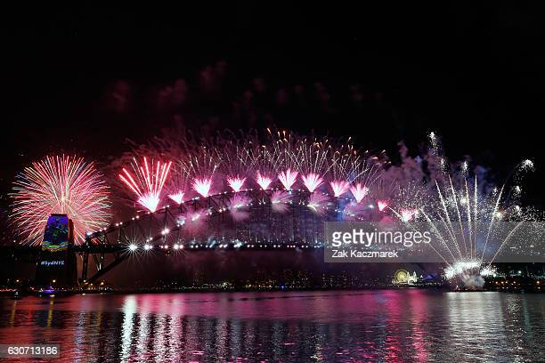 Midnight fireworks display on New Year's Eve on January 1 2017 in Sydney Australia