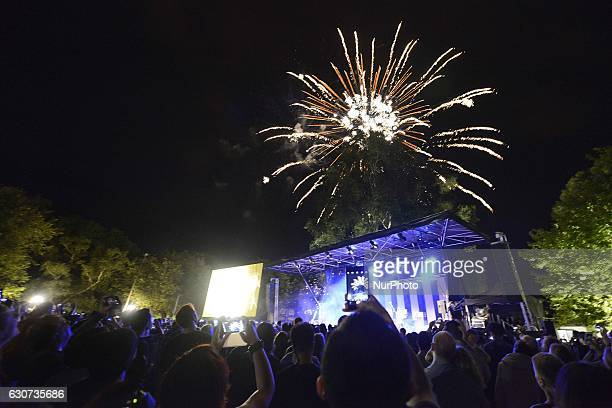 Midnight fireworks display on New Year's Eve on January 1 2017 in North Hagley Park in Christchurch New Zealand