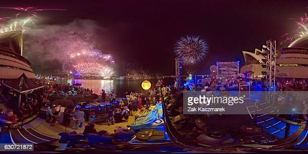 Midnight fireworks displayed in Sydney Harbour on New Year's Eve on January 1 2017 in Sydney Australia