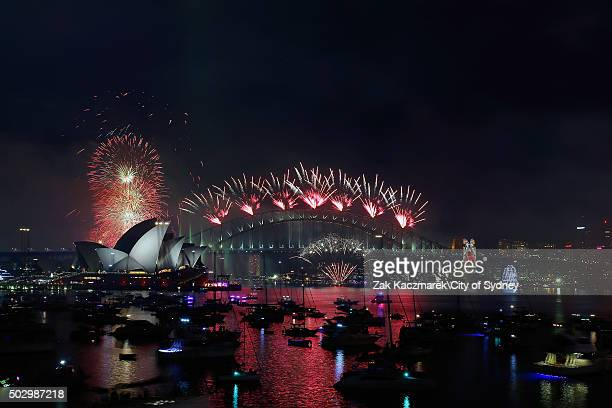 Midnight fireworks on display on New Year's Eve on Sydney Harbour on January 1 2016 in Sydney Australia