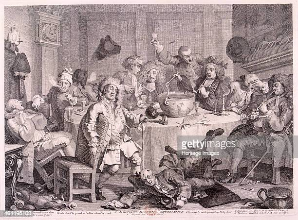 'A Midnight Modern Conversation' 1733 a group of men all in different stages of drunkenness sit around a table in the St John's Coffee House Great...