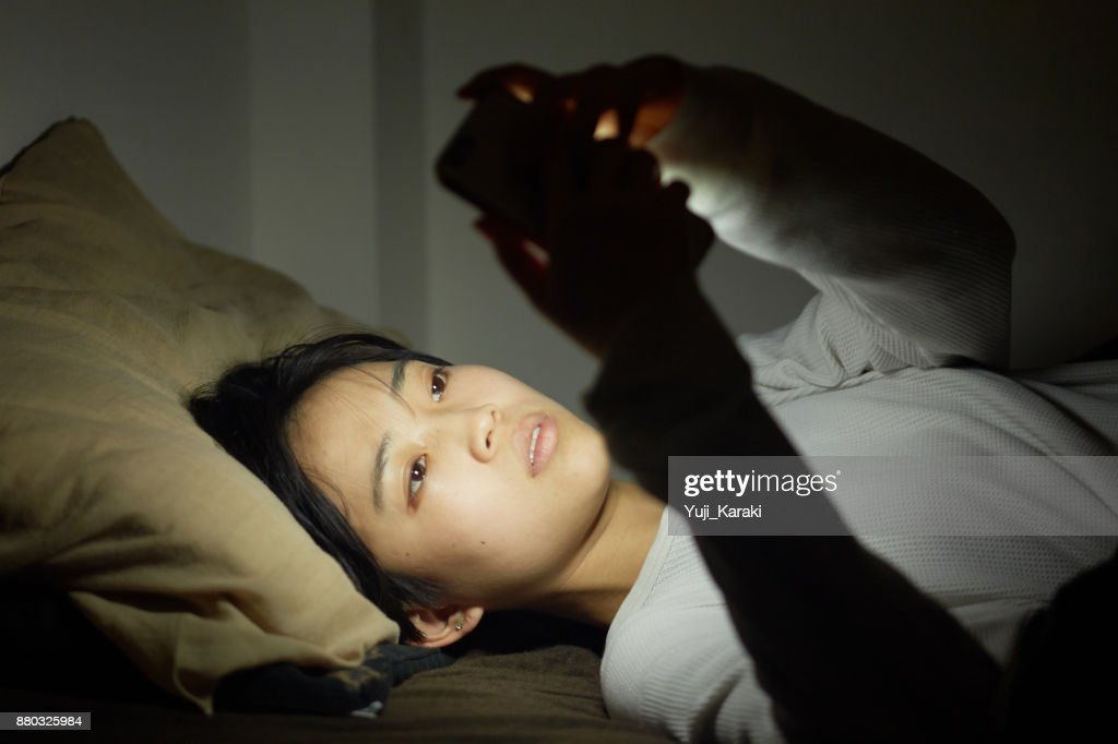 midnight ritual of the millennials : Stock Photo