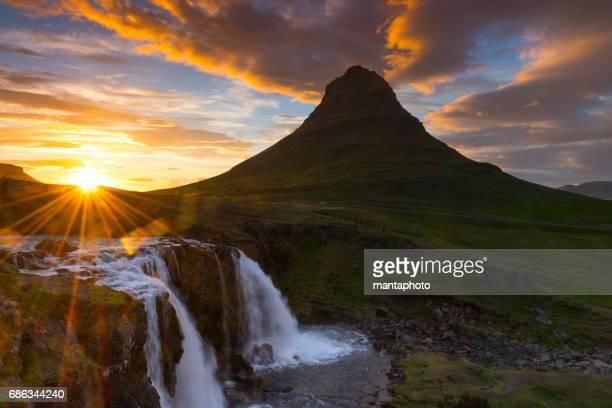 Midnight sun at Mt Kirkjufell Iceland