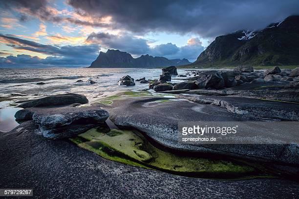 Midnight sun at Uttakleiv, Lofoten, Arctic, Norway