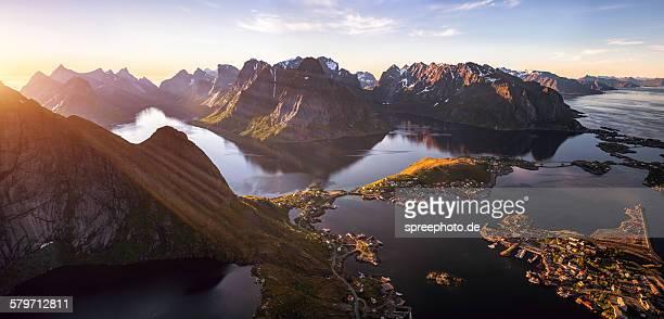Midnight sun over Reine Lofoten, Norway