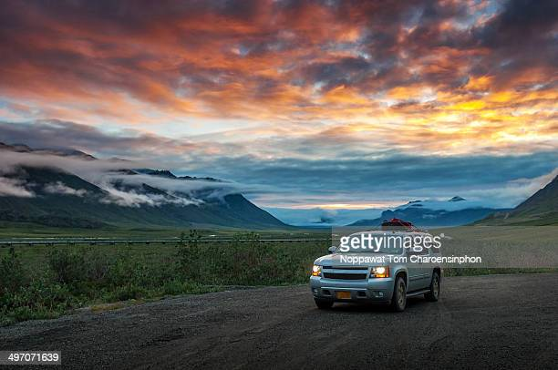 Midnight sun traveling in Alaska