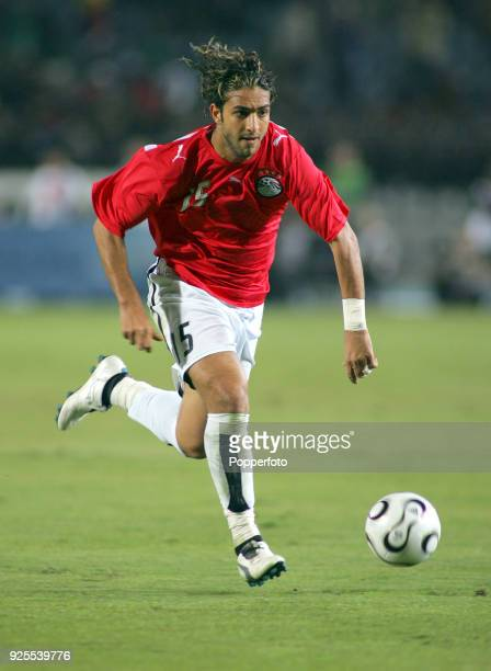 Mido of Egypt in action against Libya during the opening football match of the Africa Cup of Nations at Cairo International Stadium on January 20...