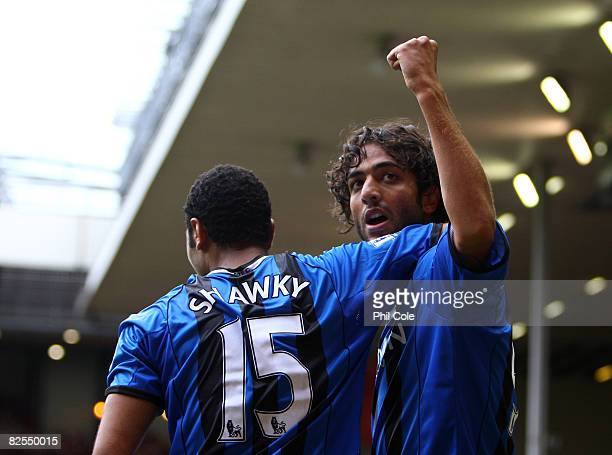 Mido of Middlesbrough celabrates his goal during the Barclays Premier League match between Liverpool and Middlesbrough at Anfield on August 23 2008...
