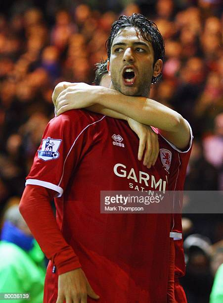 Mido of Middlesbrough celebrates after his shot was pushed into the net by Paddy Kenny of Sheffield United during the FA Cup sponsored by EON 5th...