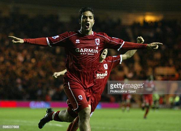 Mido of Middlesbrough celebrates after scoring the first goal during the FA Cup sponsored by EON 5th Round Replay match between Middlesbrough and...