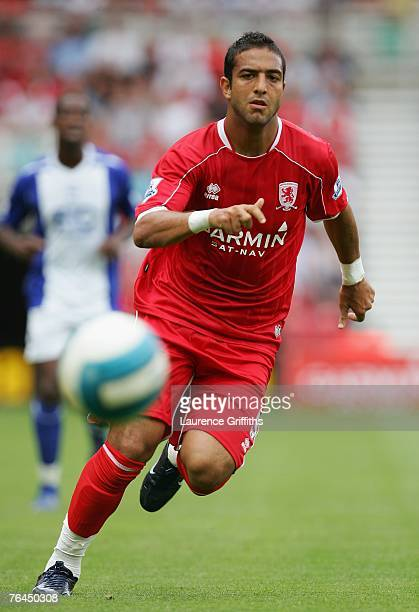 Mido of Middlesbrough in action during the Barclays Premier League match between Middlesbrough and Birmingham City at the Riverside Stadium on...
