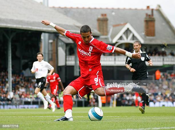 Mido of Middlesbrough scores the equalising goal during the Fulham v Middlesbrough Premiership Match at Craven Cottage Stadium London UK on 18th...