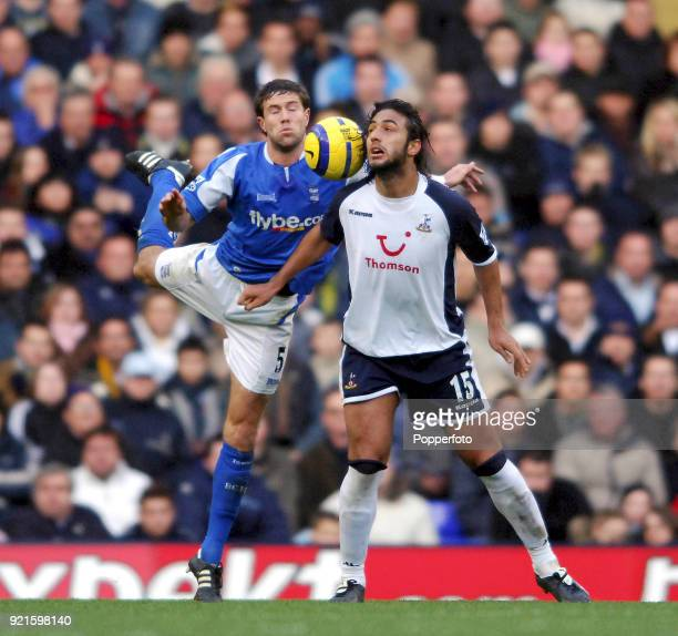 Mido of Tottenham Hotspur and Matthew Upson of Birmingham City in action during the Barclays Premiership match between Tottenham Hotspur and...