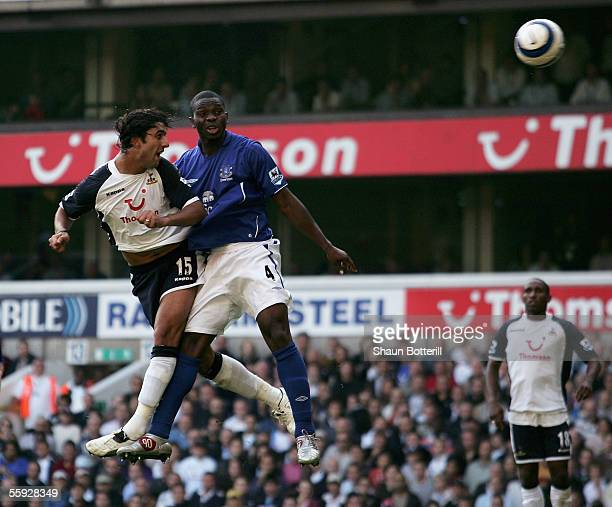 Mido of Tottenham Hotspur beats Joseph Yobo of Everton to score the first goal during the FA Barclays Premiership match between Tottenham Hotspur and...