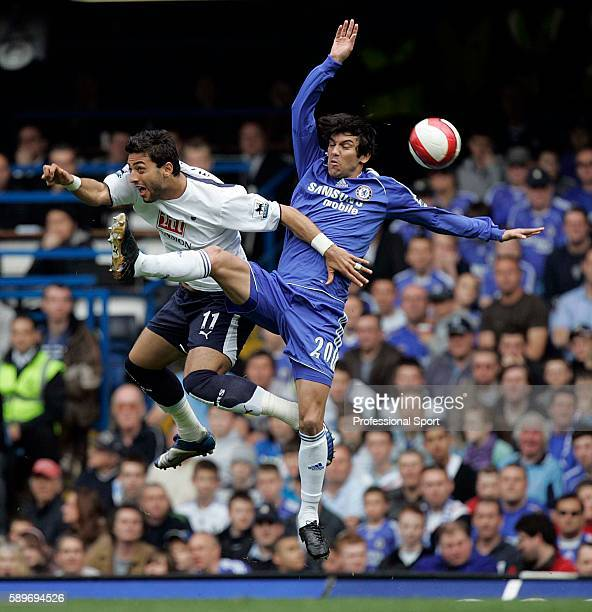 Mido of Tottenham Hotspur tussles with Paulo Ferreira of Chelsea during the Barclays Premiership match between Chelsea and Tottenham Hotspur at...