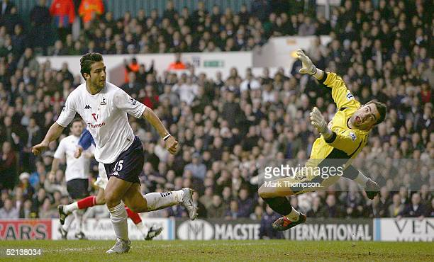 Mido of Tottenham scores his debut goal during the FA Barclays Premiership match between Tottenham Hotspur and Portsmouth at White Hart Lane on...