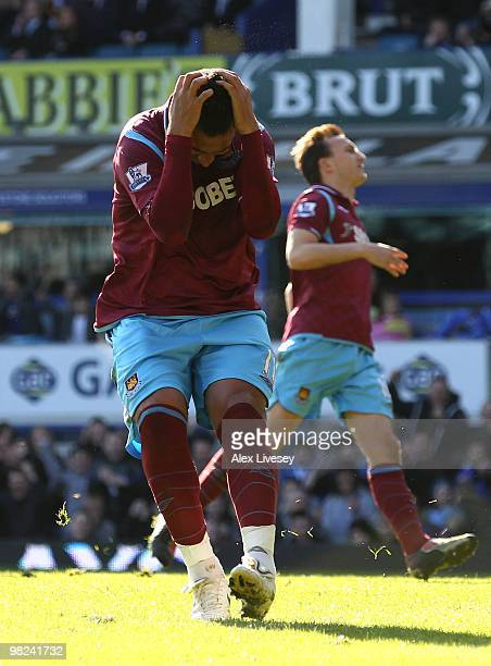 Mido of West Ham reacts after missing a penalty kick during the Barclays Premier League match between Everton and West Ham United at Goodison Park on...
