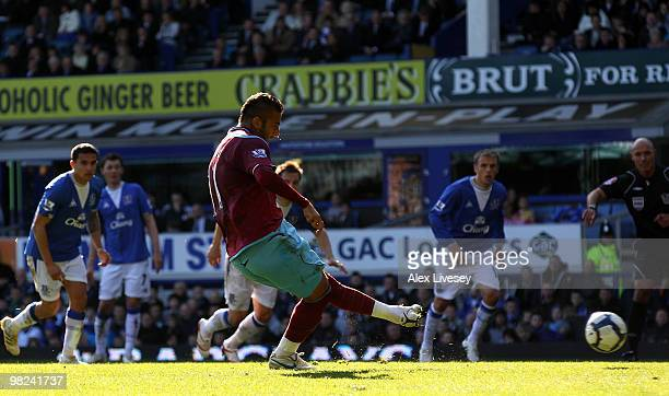 Mido of West Ham takes and subsequently misses a penalty kick during the Barclays Premier League match between Everton and West Ham United at...
