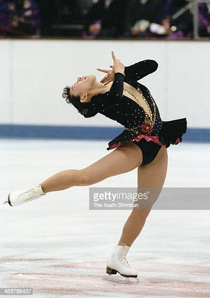 Midori Ito of Japan competes in the Figure Skating Ladies Singles Original program during the Albertville Olympic on February 19 1992 in Albertville...