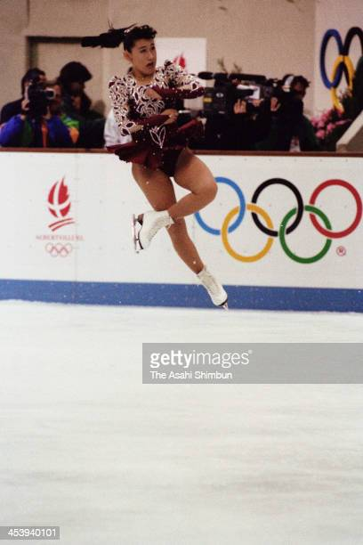 Midori Ito of Japan competes in the Figure Skating Ladies Singles Free Program during the Albertville Olympic on February 21 1992 in Albertville...