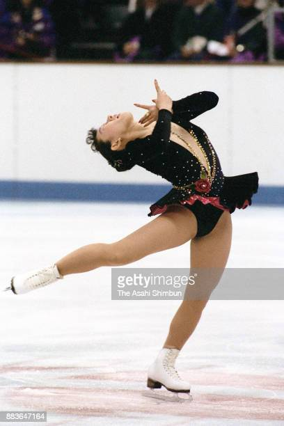 Midori Ito of Japan competes in the Women's Singles Short Program during the Albertville Olympic at the Halle Olympique on February 19 1992 in...