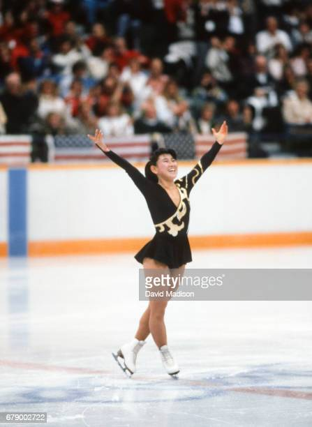 Midori Ito of Japan skates her Long Program of the Women's Singles event of the Figure Skating competition of the 1988 Winter Olympic Games on...