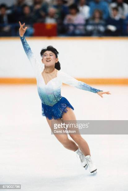 Midori Ito of Japan skates her Short Program of the Women's Singles event of the Figure Skating competition of the 1988 Winter Olympic Games on...