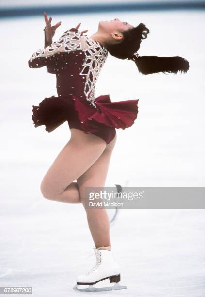 Midori Ito of Japan skates in the Free Skate portion of the Women's Singles event of the Figure Skating competition of the 1992 Winter Olympic Games...